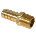 "Picture of Aftermarket brass 3/8"" male thread - 1/2"" hose barbs. Supplied as a pair."