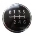 Picture of 6 Speed Gear Knob Badge VW T5 (Black/Chrome)